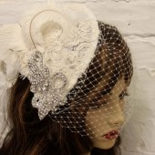 Stephanie Amazing Vintage Lace Feather Headpiece and Fascinator