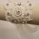 Elena Crystal and Embroidered Lace Bracelet -