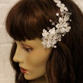 Irene crystal and silver flower hair comb, bridal fascinator