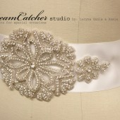 Malgorzata Crystal medallion bridal sash, Wedding sash