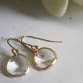 Clear Glass Gold Wrapped Earrings