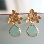 Gold Cherry Blossom Earrings