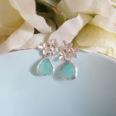 Tiffany Blue Cherry Blossom Earrings