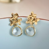 Gold Cherry Blossom Earrings Clear