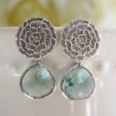 Aqua Glass Silver Mum Earrings