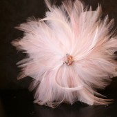 Pink Feather Veil Comb