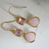 Pink Opal Glass Earrings