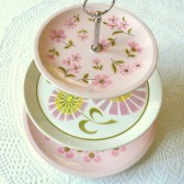 retro pink cupcake stand display