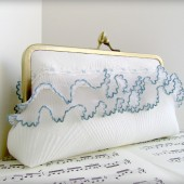 White silk clutch with trim