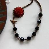 A Red Rose Garden - A Dark Red Chrysanthemum Flower, Swallow and Black Faceted Glass Beads Necklace.
