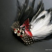 Rocker Chick Black White and Red Veil Comb, Fascinator - with Unique Leopard Accents