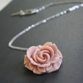 Vintage inspired pink rose necklace
