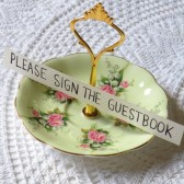 Vintage pink and green china sign holder