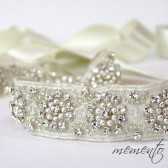 Glamorous and Sparkle Bridal Sash / Beaded Belt / Beaded Ribbon Headband with Swarovski Elements by Mauve Binchely
