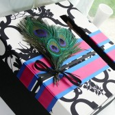 custom card box peacock feathers