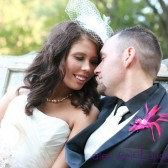 Black Lace and Pink Pearl Boutonniere