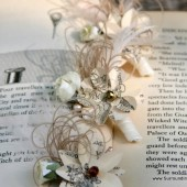 Wizard of Oz Boutonniere- Vintage Oz Bookpage Flowers, Custom Tinted