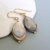 Abalone Shell and 14K Gold Plated Dangle Earrings