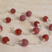 Absorb Fire Agate, Carnelian and Sterling Silver Necklace