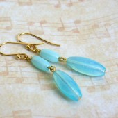 Aqua Glass and 14K Gold Plated Dangle Earrings