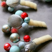 Vintage Inspired Shell Boutonniere - Aqua and Red