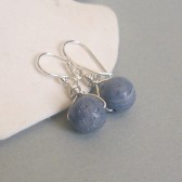 Blue Coral and Sterling Silver Dangle Earrings