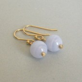 Blue Lace Agate and 14K Gold Plated Dangle Earrings