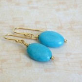 Blue Magnesite and 14K Gold Plated Dangle Earrings