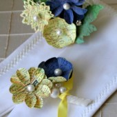 Custom Tinted Map and Atlas Boutonniere