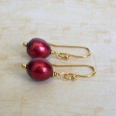 Cranberry Red Freshwater Pearl and 14K Gold Plated Dangle Earrings