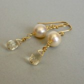 Cream Freshwater Pearl, Yelloq Quartz and 14K Gold Plated Earrings