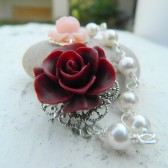 Burgundy and Pink Roses with White Pearls