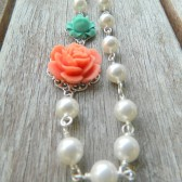 Coral and Turquoise Rose Asymmetrical Necklace with White Swarovski Pearls