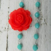 Red Rose and Turquoise Asymmetrical Necklace