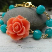 Coral Rose and Turquoise Jade Bracelet