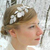 White Vintage Leaves 'Lucy' Headband
