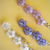 Pastel Purples Pearl White Daisy Flower Hair Pins- Choose any 2