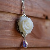 Ivory Rose and Crystal Teardrop Necklace