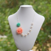 Pink and Green Rose Asymmetrical Pearl Necklace