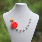 Coral and Peach Rose and White Pearl Asymmetrical Necklace