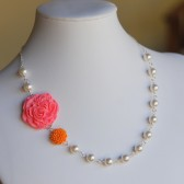Pink and Orange Asymmetrical Necklace with White Pearls