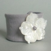 Flora Linen and Mother of Pearl Flower Cuff