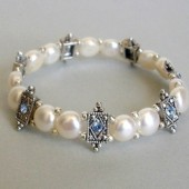 Harbor Freshwater Coin Pearl, Swarovski Crystal and Silver Plated Bracelet