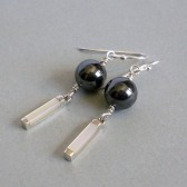 Hematite, Inlayed Mother of Pearl and Sterling Silver Earrings