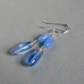 Iridescent Blue Glass and Sterling Silver Earrings