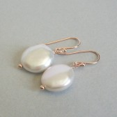 Ivory Freshwater Coin Pearl and 14K Rose Gold Plated Dangle Earrings