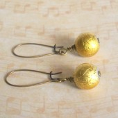 Metallic Gold Glass and Brass Dangle Earrings