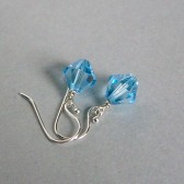 Light Blue Swarovski Crystal and Sterling Silver Dangle Earrings