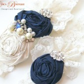Navy Ice Bridal Garter Set