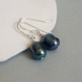 Peacock Freshwater Pearl and Sterling Silver Dangle Earrings